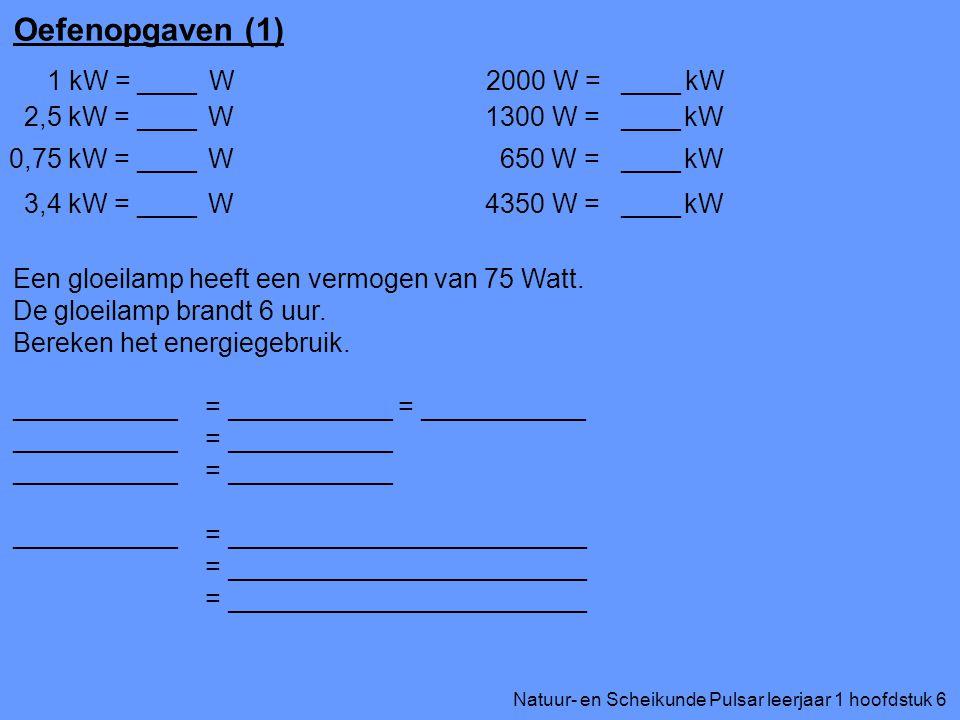 Natuur- en Scheikunde Pulsar leerjaar 1 hoofdstuk 6 Oefenopgaven (1) 1 kW = W 2,5 kW = W 0,75 kW = W 3,4 kW = W ____ 2000 W = kW 1300 W = kW 650 W = k