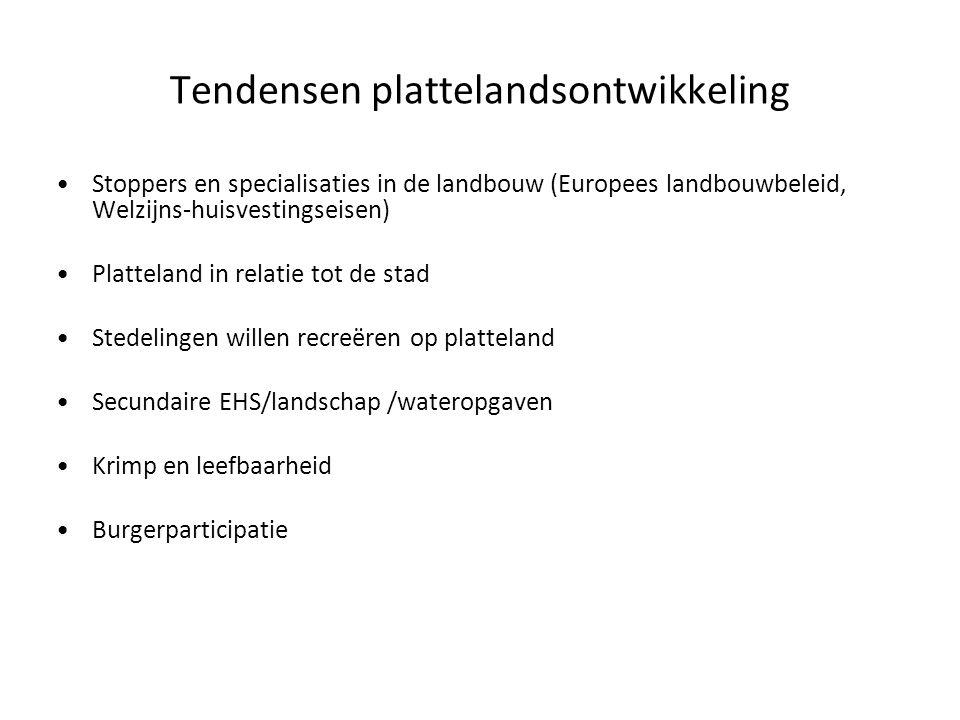 Tendensen plattelandsontwikkeling Stoppers en specialisaties in de landbouw (Europees landbouwbeleid, Welzijns-huisvestingseisen) Platteland in relati