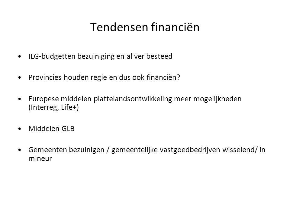Tendensen financiën ILG-budgetten bezuiniging en al ver besteed Provincies houden regie en dus ook financiën? Europese middelen plattelandsontwikkelin