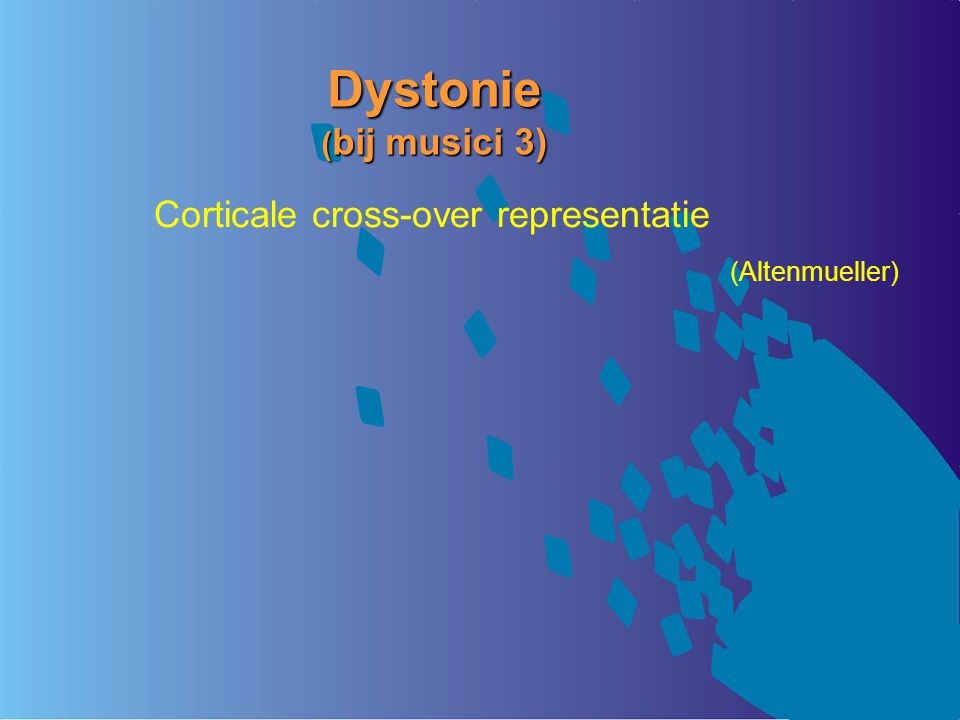 Dystonie ( bij musici 3) Corticale cross-over representatie (Altenmueller)