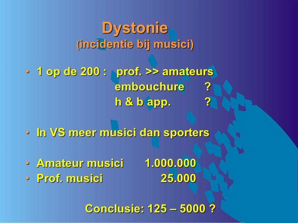 Dystonie ( incidentie bij musici) 1 op de 200 : prof. >> amateurs1 op de 200 : prof. >> amateurs embouchure? h & b app.? In VS meer musici dan sporter