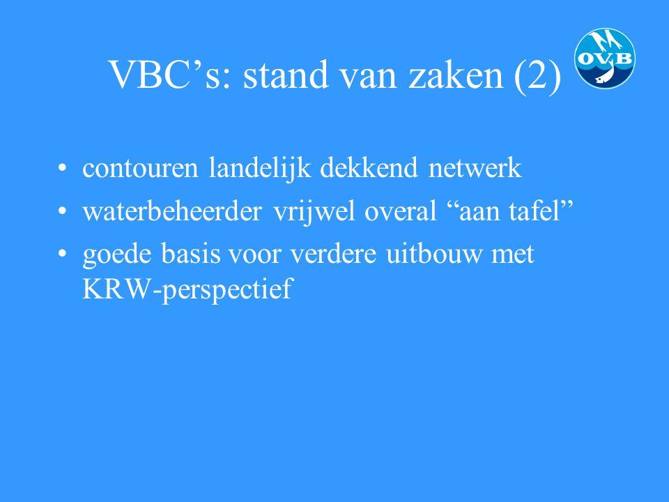 """VBC's: stand van zaken (2) contouren landelijk dekkend netwerk waterbeheerder vrijwel overal """"aan tafel"""" goede basis voor verdere uitbouw met KRW-pers"""