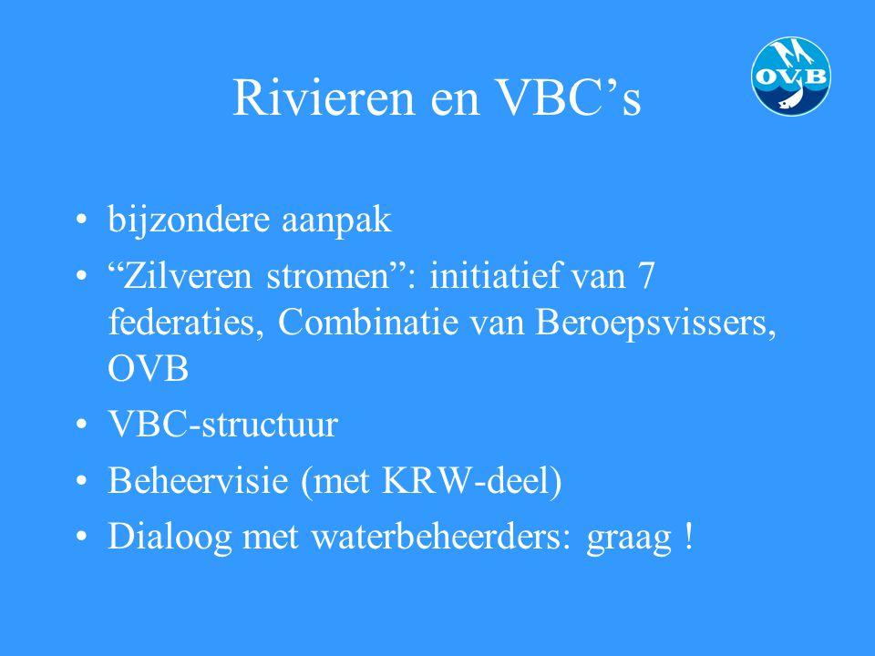 """Rivieren en VBC's bijzondere aanpak """"Zilveren stromen"""": initiatief van 7 federaties, Combinatie van Beroepsvissers, OVB VBC-structuur Beheervisie (met"""