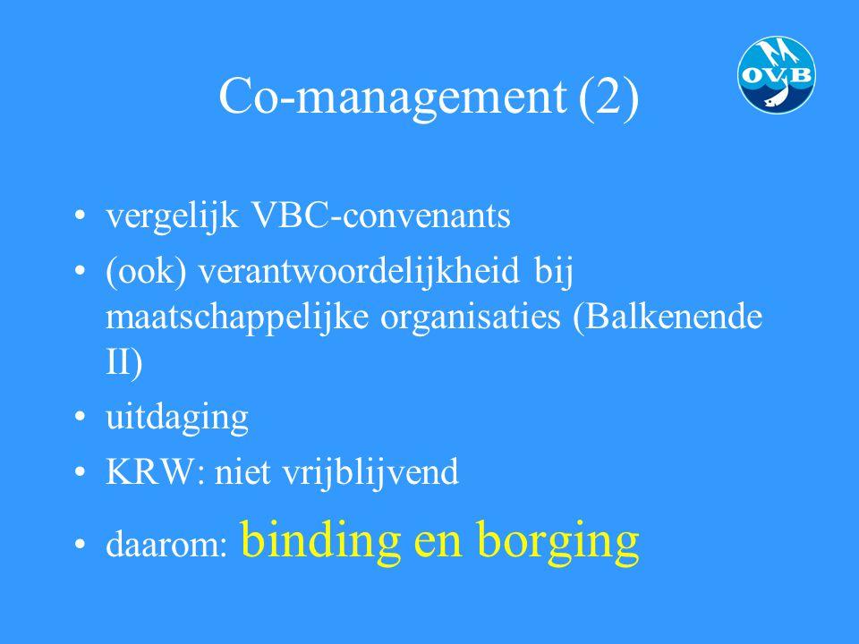 Co-management (2) vergelijk VBC-convenants (ook) verantwoordelijkheid bij maatschappelijke organisaties (Balkenende II) uitdaging KRW: niet vrijblijve