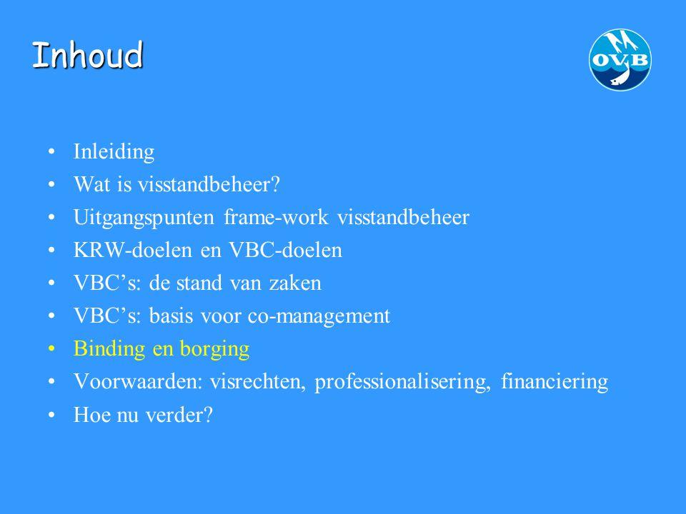 Rivieren en VBC's bijzondere aanpak Zilveren stromen : initiatief van 7 federaties, Combinatie van Beroepsvissers, OVB VBC-structuur Beheervisie (met KRW-deel) Dialoog met waterbeheerders: graag !