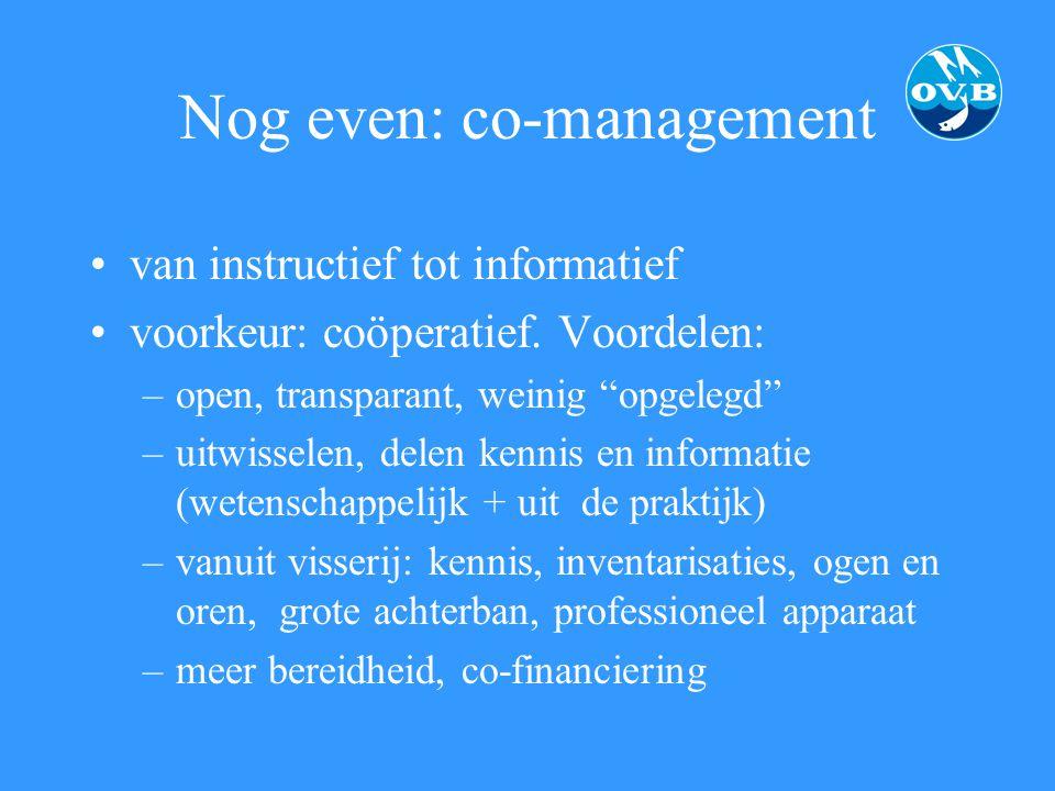"""Nog even: co-management van instructief tot informatief voorkeur: coöperatief. Voordelen: –open, transparant, weinig """"opgelegd"""" –uitwisselen, delen ke"""