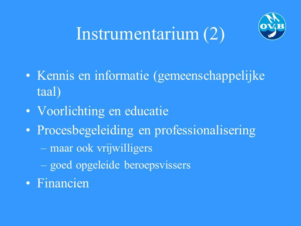 Instrumentarium (2) Kennis en informatie (gemeenschappelijke taal) Voorlichting en educatie Procesbegeleiding en professionalisering –maar ook vrijwil