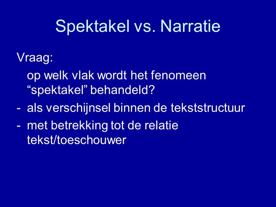 Spektakel vs. Narratie Vraag: op welk vlak wordt het fenomeen spektakel behandeld.