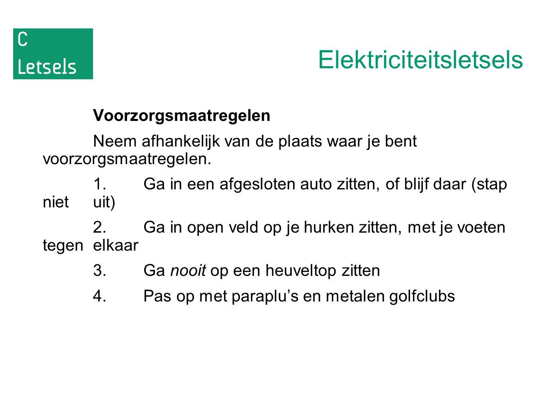 Elektriciteitsletsels Voorzorgsmaatregelen Neem afhankelijk van de plaats waar je bent voorzorgsmaatregelen. 1.Ga in een afgesloten auto zitten, of bl