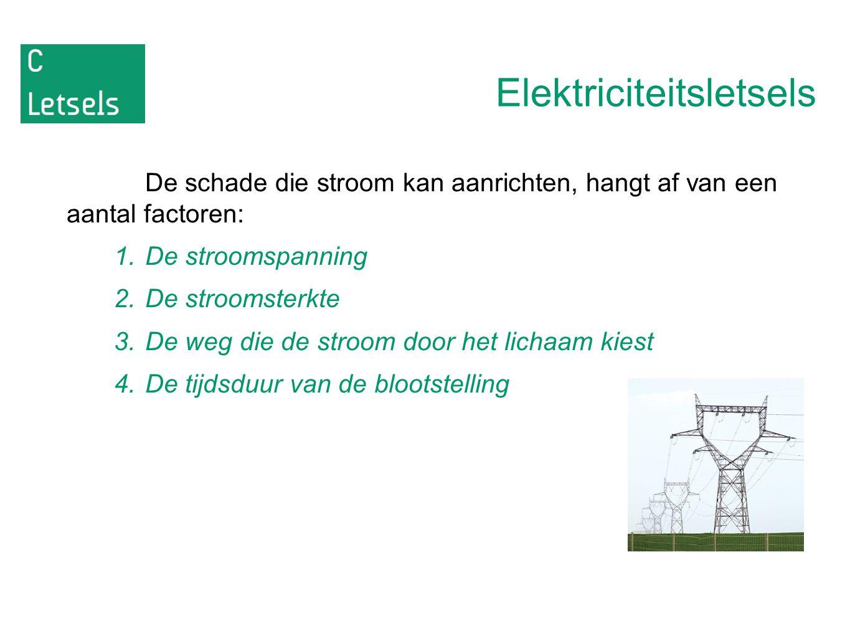 Elektriciteitsletsels De schade die stroom kan aanrichten, hangt af van een aantal factoren: 1.De stroomspanning 2.De stroomsterkte 3.De weg die de st