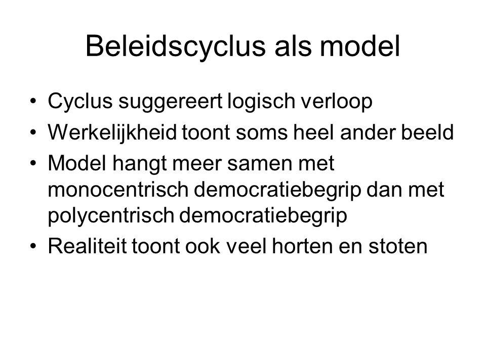 Beleidscyclus als model Cyclus suggereert logisch verloop Werkelijkheid toont soms heel ander beeld Model hangt meer samen met monocentrisch democrati