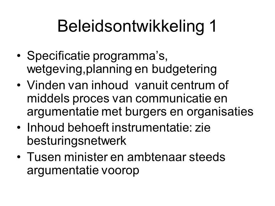 Beleidsontwikkeling 1 Specificatie programma's, wetgeving,planning en budgetering Vinden van inhoud vanuit centrum of middels proces van communicatie