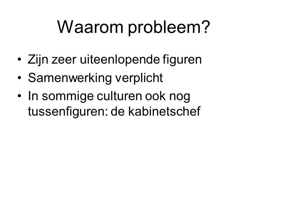 Waarom probleem? Zijn zeer uiteenlopende figuren Samenwerking verplicht In sommige culturen ook nog tussenfiguren: de kabinetschef