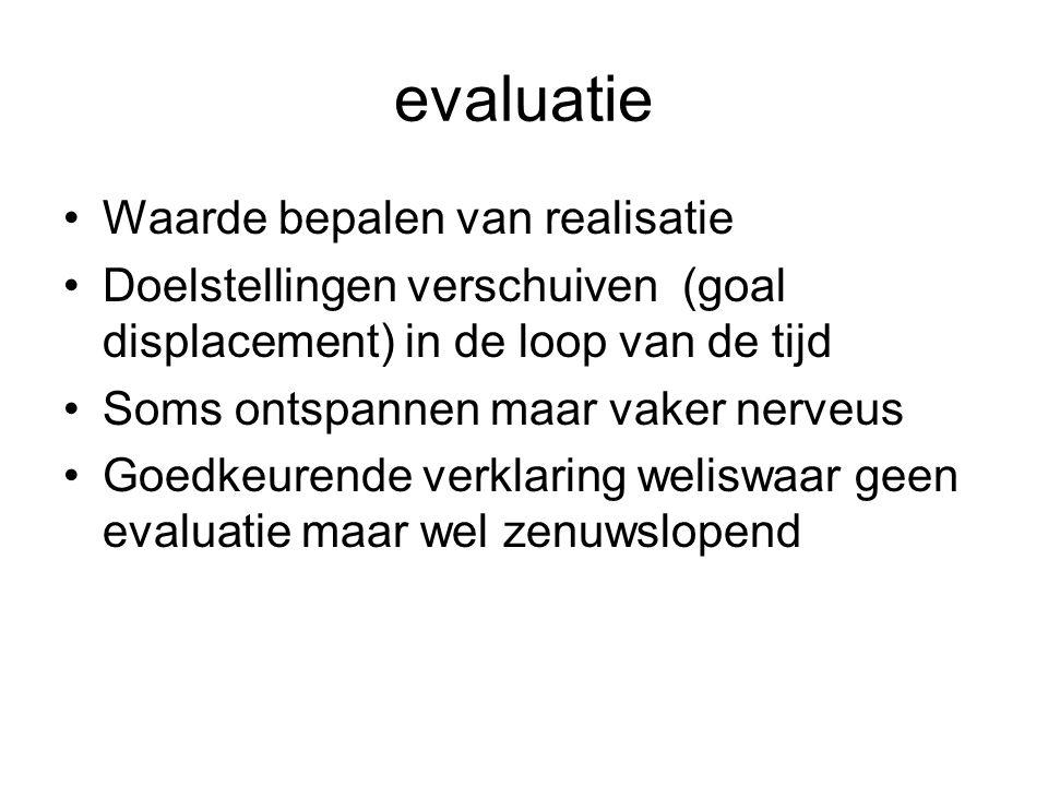 evaluatie Waarde bepalen van realisatie Doelstellingen verschuiven (goal displacement) in de loop van de tijd Soms ontspannen maar vaker nerveus Goedk