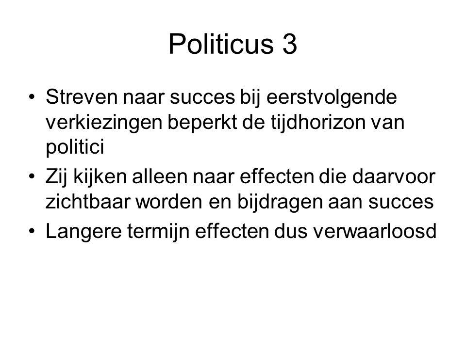 Politicus 3 Streven naar succes bij eerstvolgende verkiezingen beperkt de tijdhorizon van politici Zij kijken alleen naar effecten die daarvoor zichtb