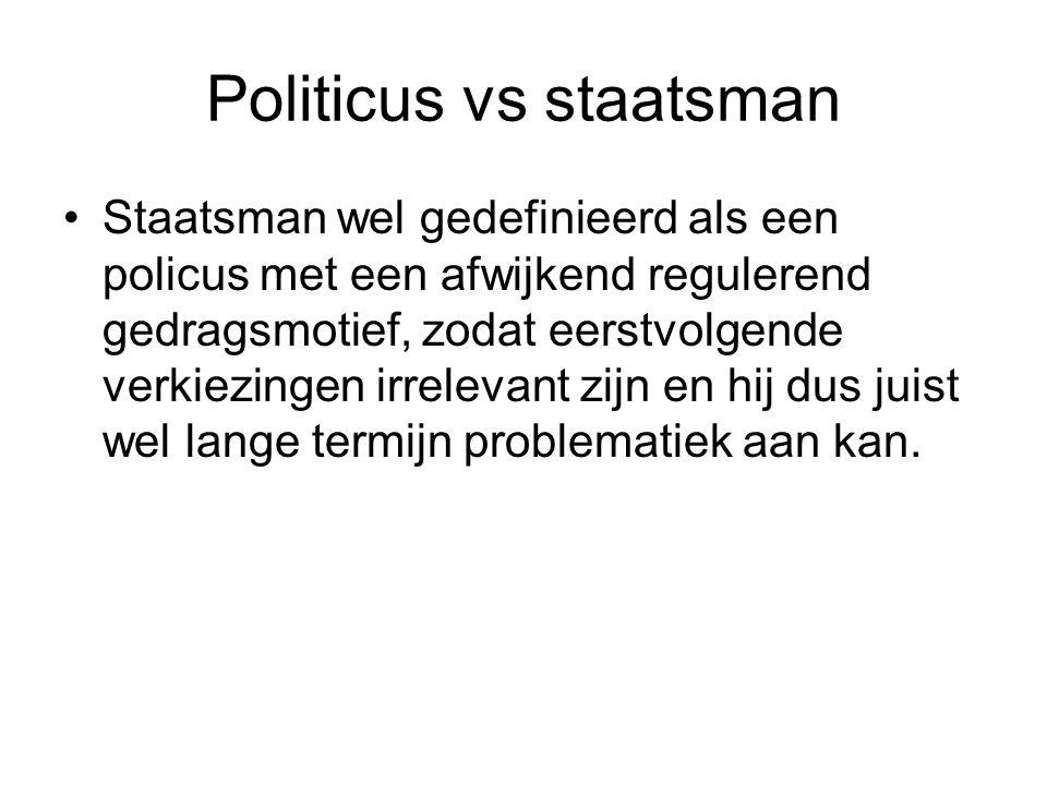 Politicus vs staatsman Staatsman wel gedefinieerd als een policus met een afwijkend regulerend gedragsmotief, zodat eerstvolgende verkiezingen irrelev