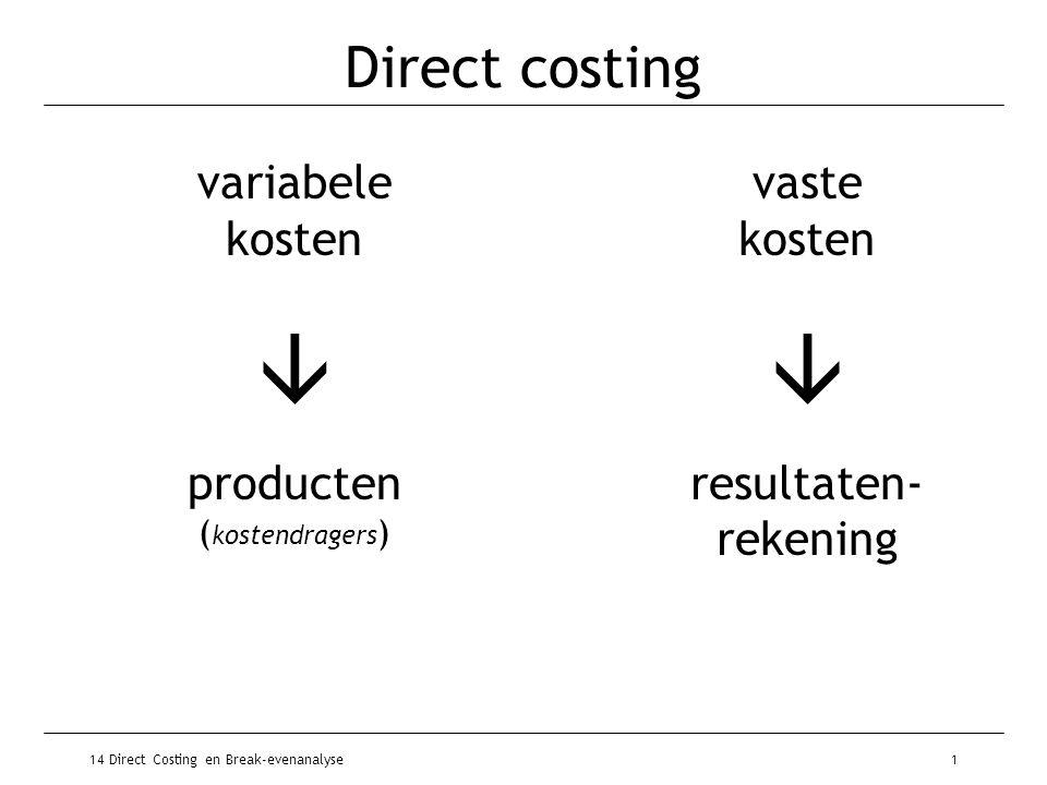 14 Direct Costing en Break-evenanalyse2 Basisschema: winst bij DC omzet€750.000 variabele kosten€350.000 _______ -/- totale dekkingsbijdrage€400.000 totale vaste kosten€280.000 _______ -/- winst€120.000