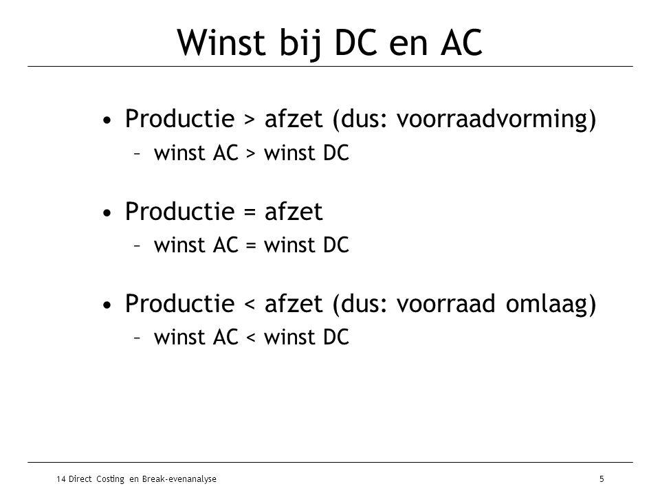 14 Direct Costing en Break-evenanalyse6 DC & planning korte termijn variabele kosten directe vaste kosten vaste kosten indirecte vaste kosten