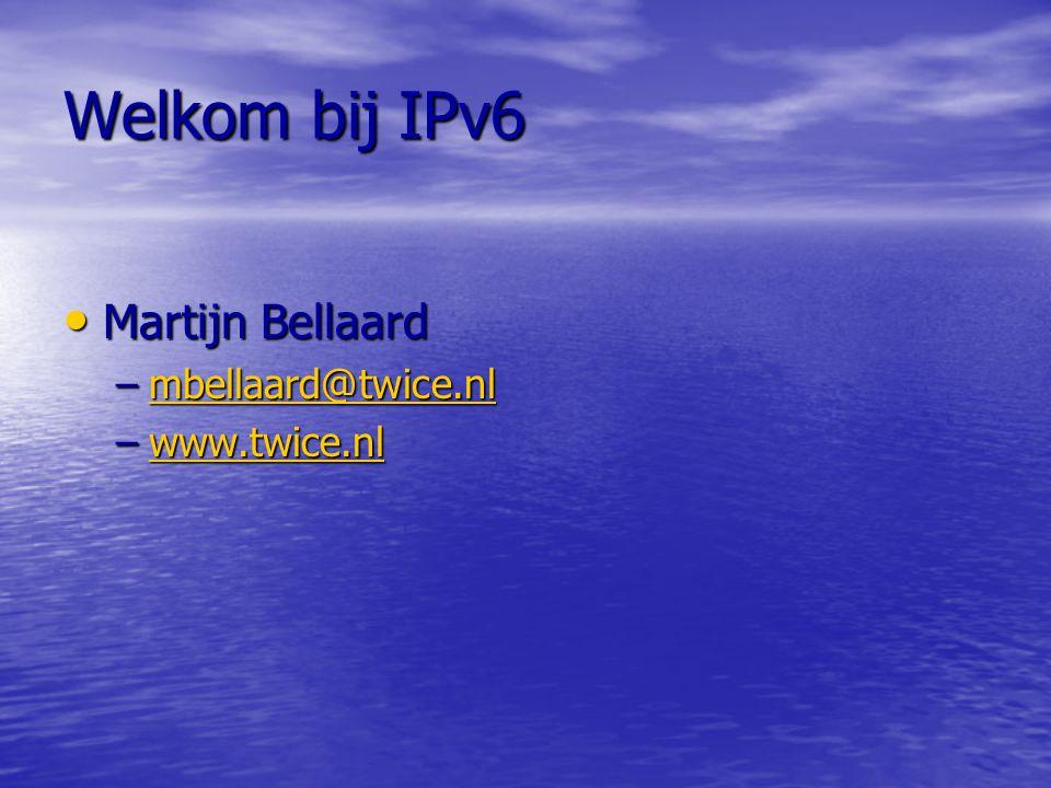 IPv6 Nummer IPv6 nummer IPv6 nummer –Regels voor notatie Hexadecimaal Hexadecimaal 128 Bits 128 Bits 8 groepen van 4 hexadecimale getallen 8 groepen van 4 hexadecimale getallen Voorloop nullen hoeven niet genoteerd te worden Voorloop nullen hoeven niet genoteerd te worden Aaneengesloten nullen mogen vervangen worden door :: Aaneengesloten nullen mogen vervangen worden door :: 2345:0000:0000:0900:56CD:3423:0022:9099 2345::900:56CD:3423:22:9099