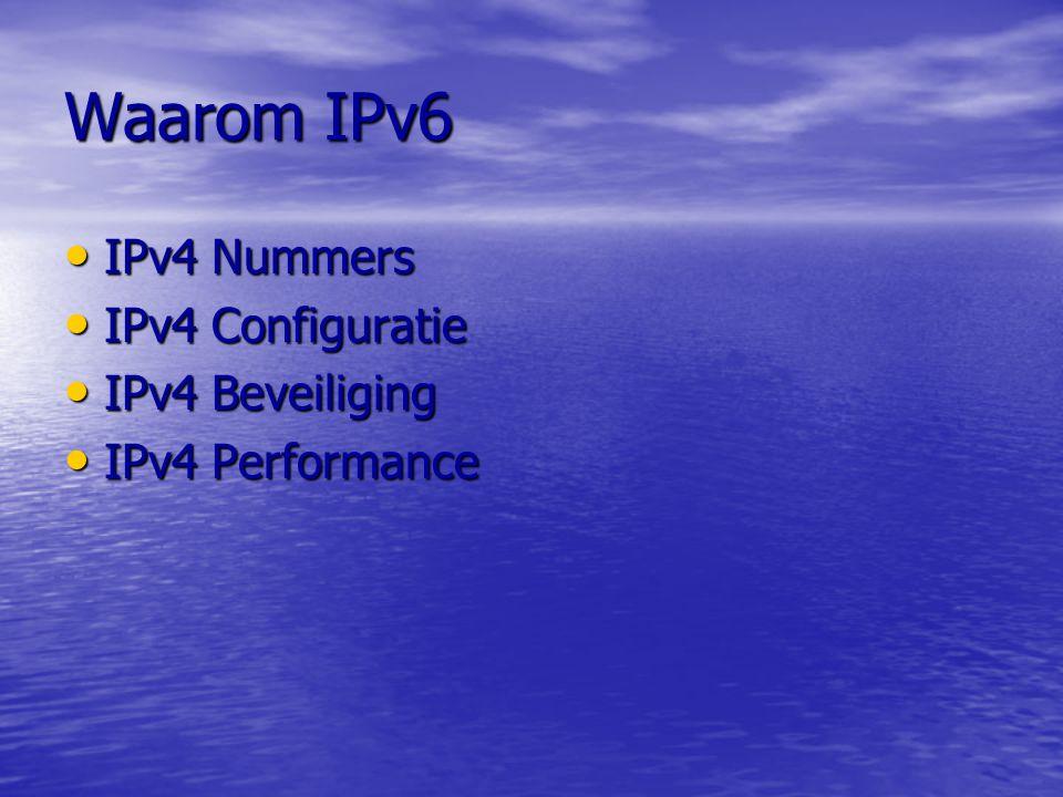Waarom IPv6 IPv4 Nummers IPv4 Nummers –IPv4 is 32 bits –NAT IPv6 Nummers IPv6 Nummers –IPv6 is 128 Bits –Elk apparaat zijn eigen nummer.