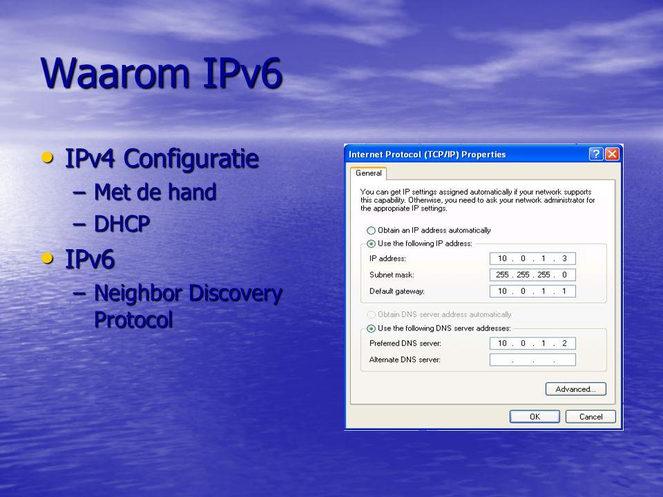 Waarom IPv6 IPv4 Beveiliging IPv4 Beveiliging –Standaard niet –Aanvulling SSL SSL IPSec IPSec IPv6 Beveiliging IPv6 Beveiliging –Standaard IPSec