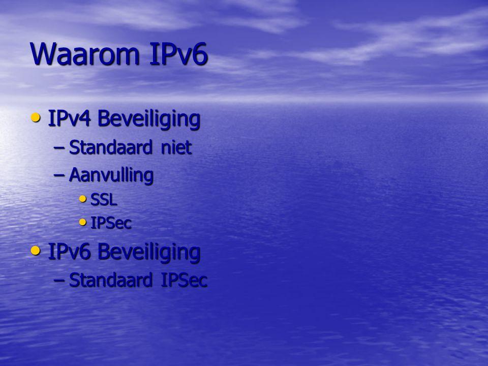 Waarom IPv6 IPv4 Performance IPv4 Performance –Header IPv4,beperkte grote IPv4,beperkte grote IPv6 header IPv6 header –Next header –MTU IPv4, fragmentatie IPv4, fragmentatie IPv6, geen fragmentatie IPv6, geen fragmentatie –Path MTU Discovery