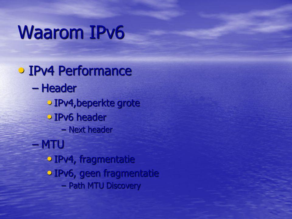 Daarom IPv6 IPv4 Nummers IPv4 Nummers IPv4 Configuratie IPv4 Configuratie IPv4 Beveiliging IPv4 Beveiliging IPv4 Performance IPv4 Performance