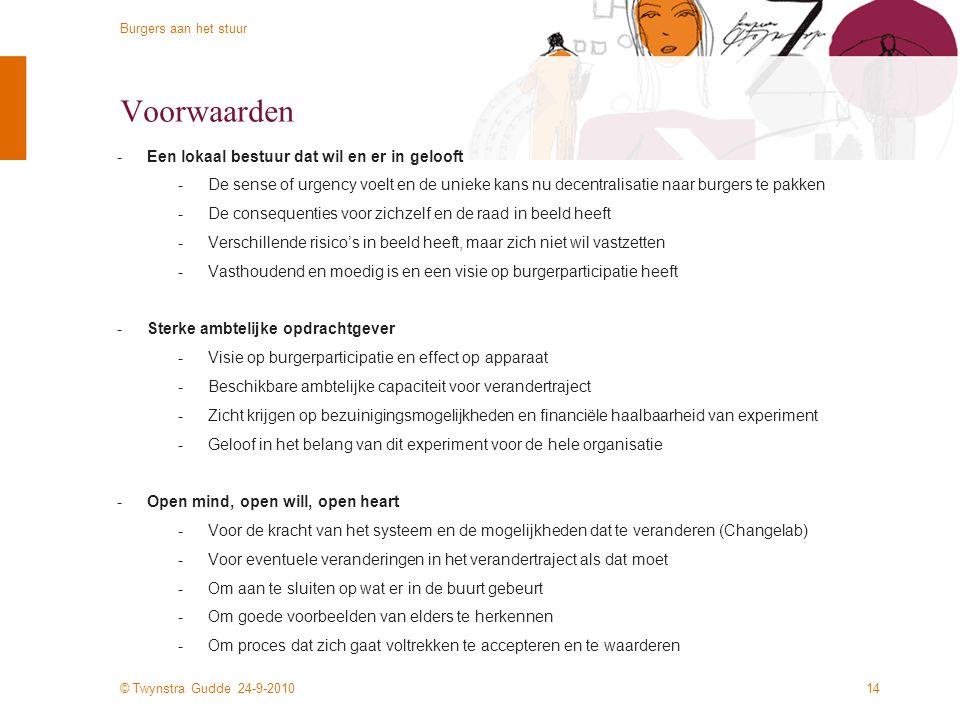 © Twynstra Gudde 24-9-2010 Burgers aan het stuur 13 Welke gemeenten zoeken we? -Koplopers -Gemeenten met lef en wil om koploper te worden op het gebie