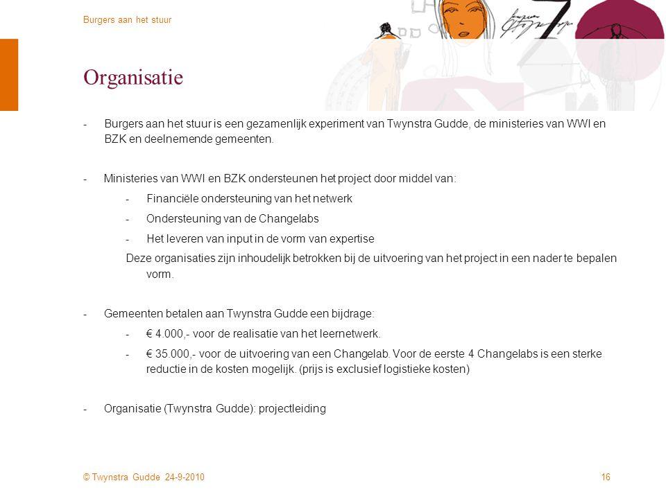 © Twynstra Gudde 24-9-2010 Burgers aan het stuur 15 Voorstel voor eerstvolgende stap -Informatiebijeenkomst 19 okt (9-12u Twynstra Gudde, Amersfoort)