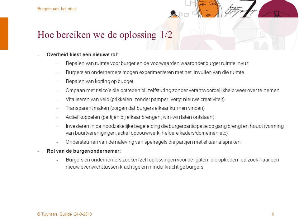 © Twynstra Gudde 24-9-2010 Burgers aan het stuur 16 Organisatie -Burgers aan het stuur is een gezamenlijk experiment van Twynstra Gudde, de ministeries van WWI en BZK en deelnemende gemeenten.