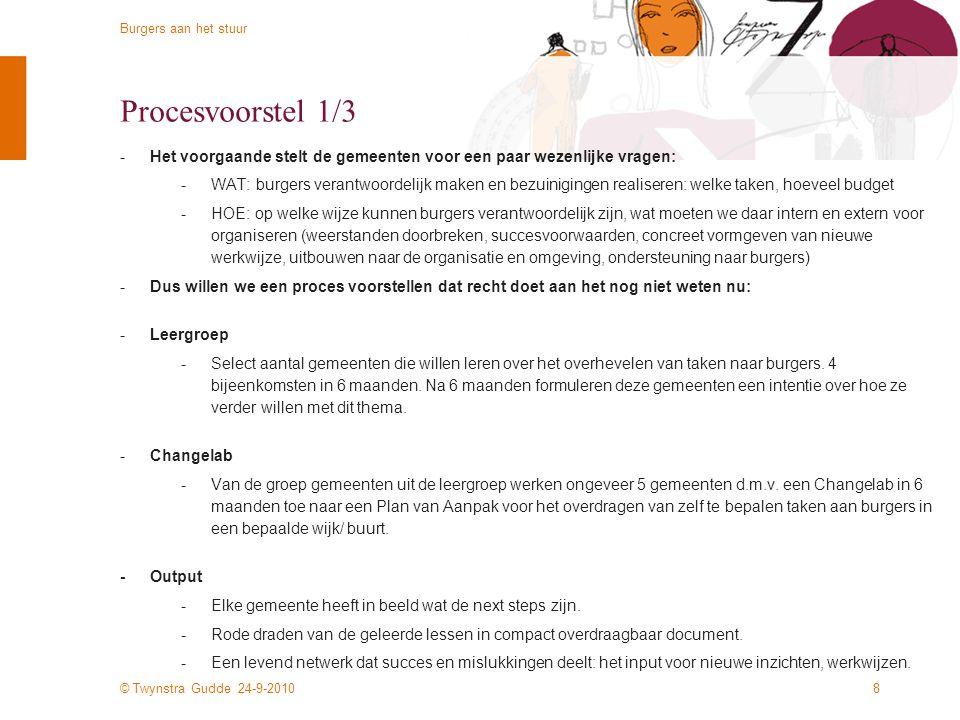 © Twynstra Gudde 24-9-2010 Burgers aan het stuur 18 Projectteam -Twynstra Gudde heeft voor dit initiatief een projectteam samengesteld -Jeroen den Uyl, teamleider, initiator juy@tg.nljuy@tg.nl -Bas Vlemminx, procesleider bvl@tg.nlbvl@tg.nl -Irene Boersema, veranderkundige ibs@tg.nlibs@tg.nl -Walter Ligthart, partner, Changelabagent, veranderexpert wli@tg.nlwli@tg.nl -Vanuit de ministeries WWI en BZK zal de expertmatige inbreng en betrokkenheid in een nader te kiezen vorm georganiseerd worden.