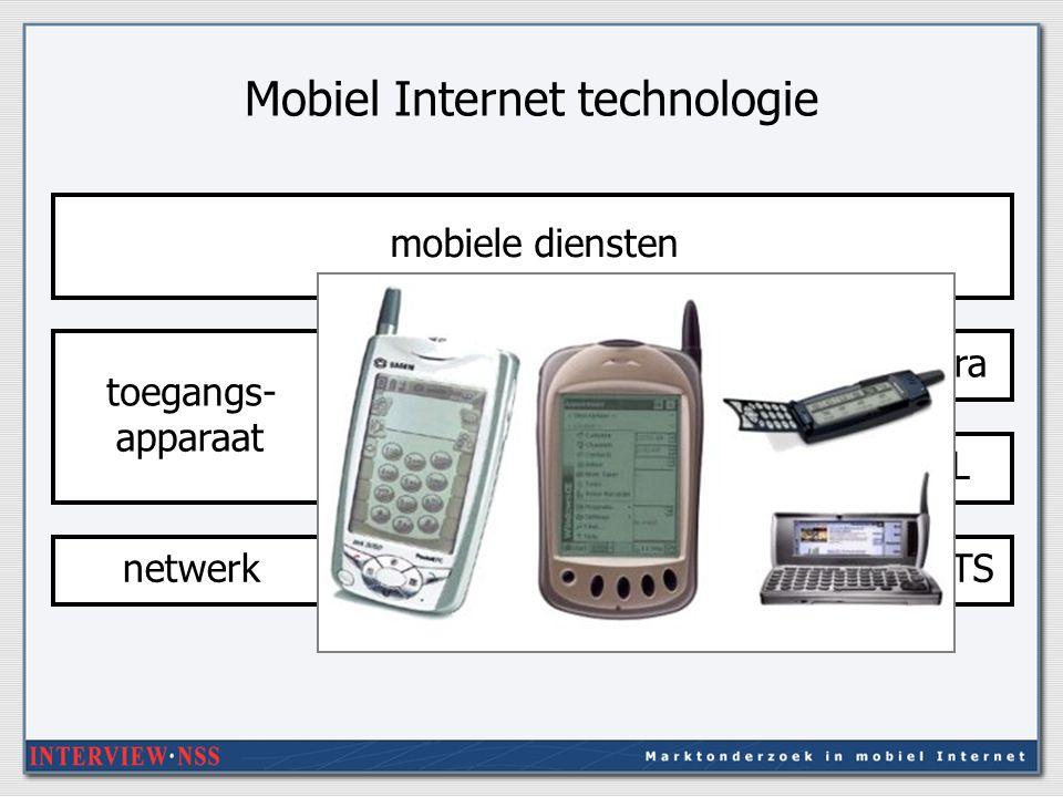 Mobiel Internet technologie mobiele diensten WAP, cHTML (I-mode), Java, XML toegangs- apparaat schermpje, toetsen, geluid, cameraGSMGPRSUMTSPDC-P netwerk