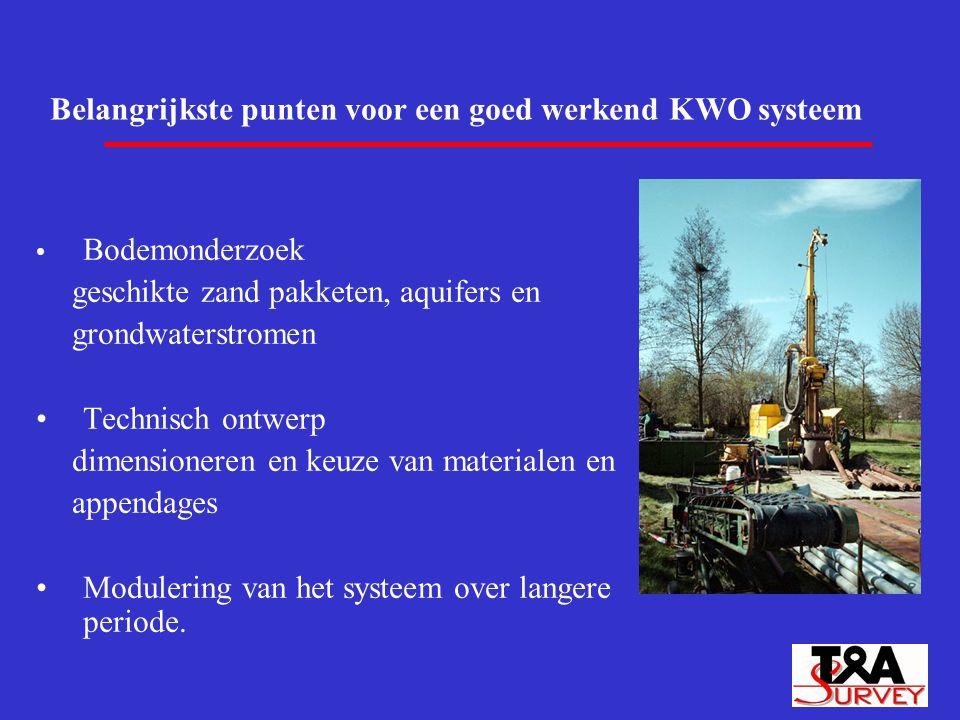 Belangrijkste punten voor een goed werkend KWO systeem Bodemonderzoek geschikte zand pakketen, aquifers en grondwaterstromen Technisch ontwerp dimensi