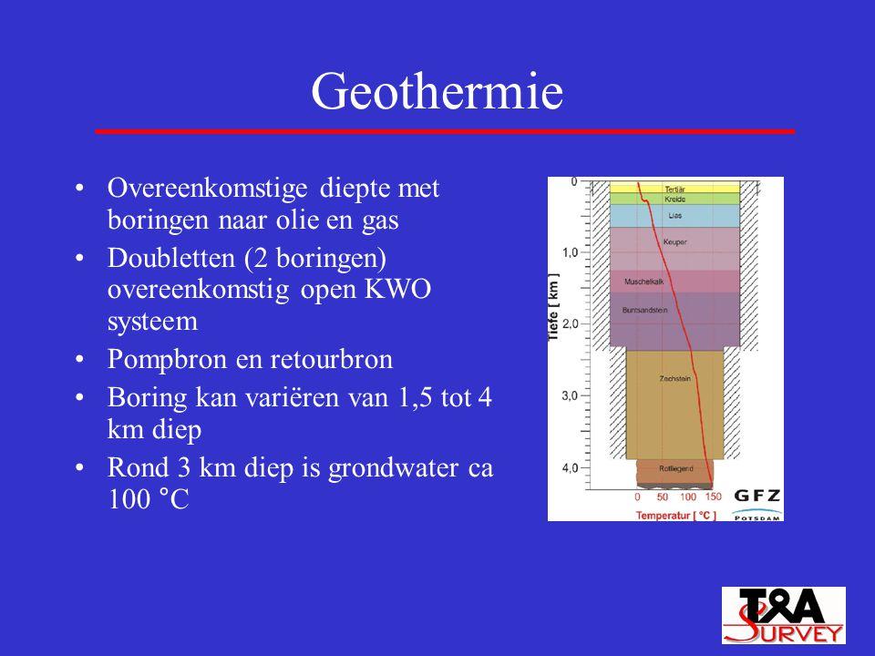 Geothermie Overeenkomstige diepte met boringen naar olie en gas Doubletten (2 boringen) overeenkomstig open KWO systeem Pompbron en retourbron Boring