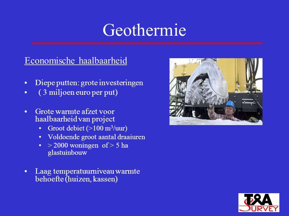 Geothermie Economische haalbaarheid Diepe putten: grote investeringen ( 3 miljoen euro per put) Grote warmte afzet voor haalbaarheid van project Groot