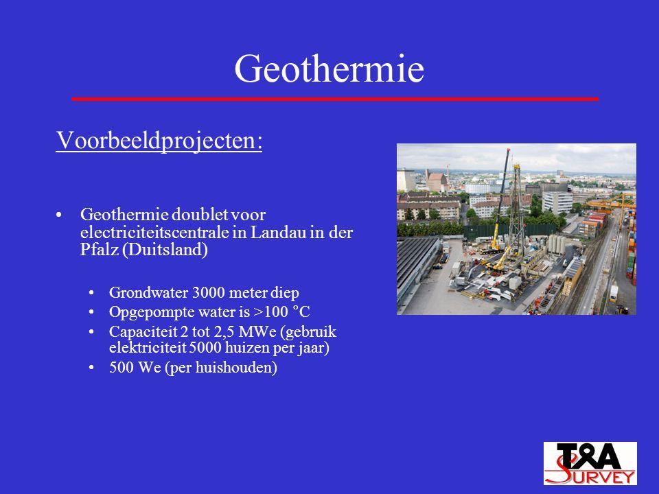 Geothermie Voorbeeldprojecten: Geothermie doublet voor electriciteitscentrale in Landau in der Pfalz (Duitsland) Grondwater 3000 meter diep Opgepompte