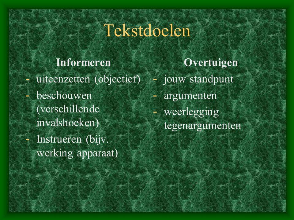 Tekstdoelen Informeren - uiteenzetten (objectief) - beschouwen (verschillende invalshoeken) - Instrueren (bijv. werking apparaat) Overtuigen - jouw st