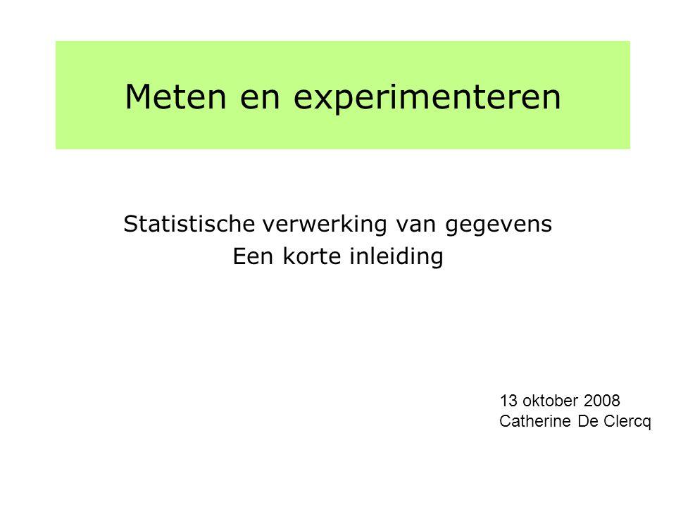 Meten en Experimenteren 2008-2009 Verwerking van gegevensp2 Statistische verwerking van gegevens Kursus statistiek voor fysici door Jorgen D'Hondt in 2de semester In deze les wordt een samenvatting gegeven van de formules nodig in het practicum fysica Deel I: Deel II: Deel III: Deel IV: Toevallige veranderlijken, Steekproef Beschrijving van gegevens, Histogram Gemiddelde en standaarddeviatie Normale of gaussische verdeling Fouten en onzekerheden Herhaalde metingen: gemiddelde en variantie Bewerkingen met stochastische veranderlijken Voortplanten van statistische onzekerheden Bepalen van de beste rechte door de metingen Methode van de kleinste kwadraten Niet lineaire problemen Presentatie van resultaten Aantal beduidende cijfers, Afronden van getalwaarden Grafieken, tabellen, eenheden etc
