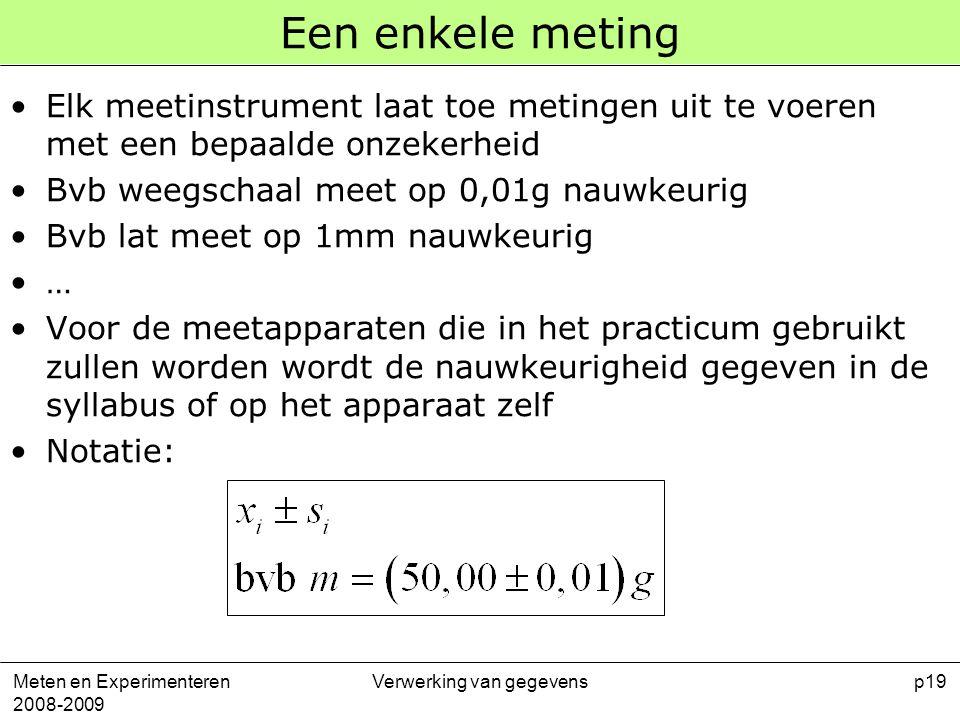 Meten en Experimenteren 2008-2009 Verwerking van gegevensp19 Een enkele meting Elk meetinstrument laat toe metingen uit te voeren met een bepaalde onz