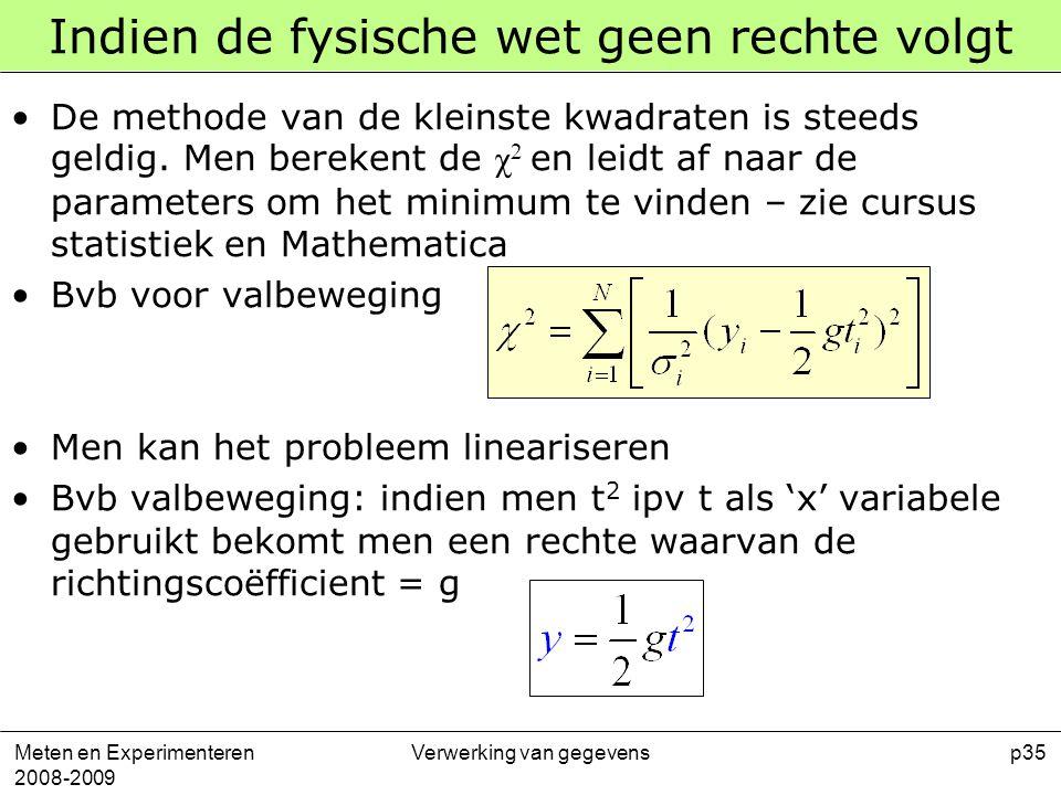Meten en Experimenteren 2008-2009 Verwerking van gegevensp35 Indien de fysische wet geen rechte volgt De methode van de kleinste kwadraten is steeds g