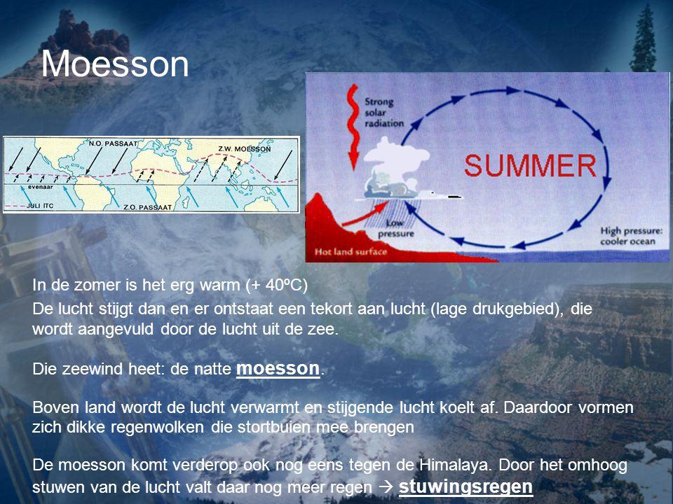 Moesson In de zomer is het erg warm (+ 40ºC) De lucht stijgt dan en er ontstaat een tekort aan lucht (lage drukgebied), die wordt aangevuld door de lucht uit de zee.