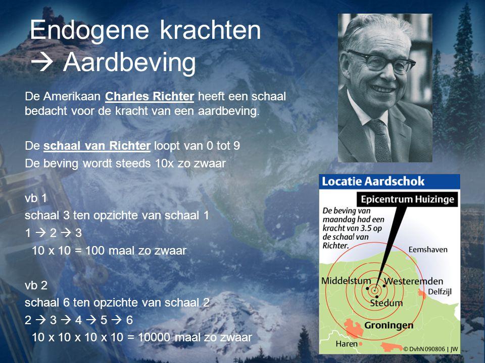 Endogene krachten  Aardbeving De Amerikaan Charles Richter heeft een schaal bedacht voor de kracht van een aardbeving. De schaal van Richter loopt va