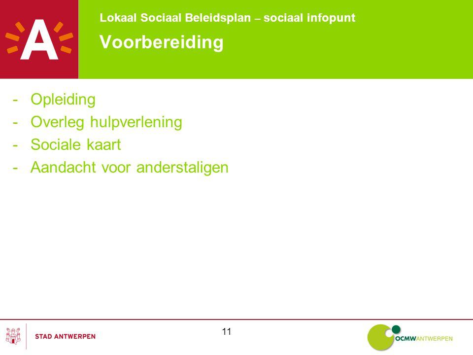 Lokaal Sociaal Beleidsplan – sociaal infopunt 11 Voorbereiding -Opleiding -Overleg hulpverlening -Sociale kaart -Aandacht voor anderstaligen