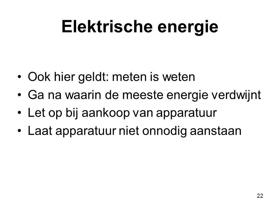 22 Elektrische energie Ook hier geldt: meten is weten Ga na waarin de meeste energie verdwijnt Let op bij aankoop van apparatuur Laat apparatuur niet onnodig aanstaan