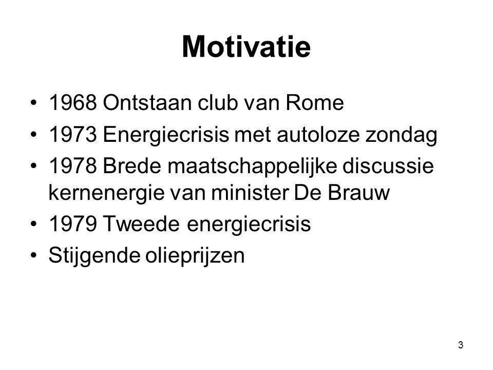 3 Motivatie 1968 Ontstaan club van Rome 1973 Energiecrisis met autoloze zondag 1978 Brede maatschappelijke discussie kernenergie van minister De Brauw 1979 Tweede energiecrisis Stijgende olieprijzen