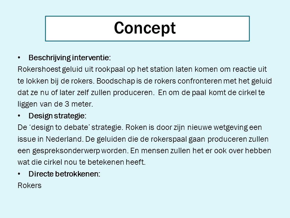 Concept Beschrijving interventie: Rokershoest geluid uit rookpaal op het station laten komen om reactie uit te lokken bij de rokers. Boodschap is de r