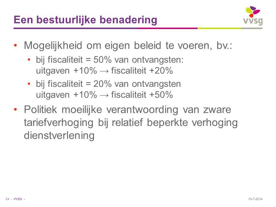 VVSG - Een bestuurlijke benadering Mogelijkheid om eigen beleid te voeren, bv.: bij fiscaliteit = 50% van ontvangsten: uitgaven +10% → fiscaliteit +20