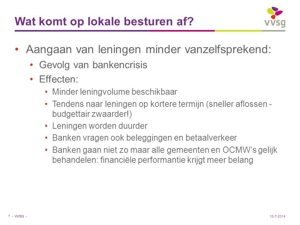 VVSG - Wat komt op lokale besturen af? Aangaan van leningen minder vanzelfsprekend: Gevolg van bankencrisis Effecten: Minder leningvolume beschikbaar