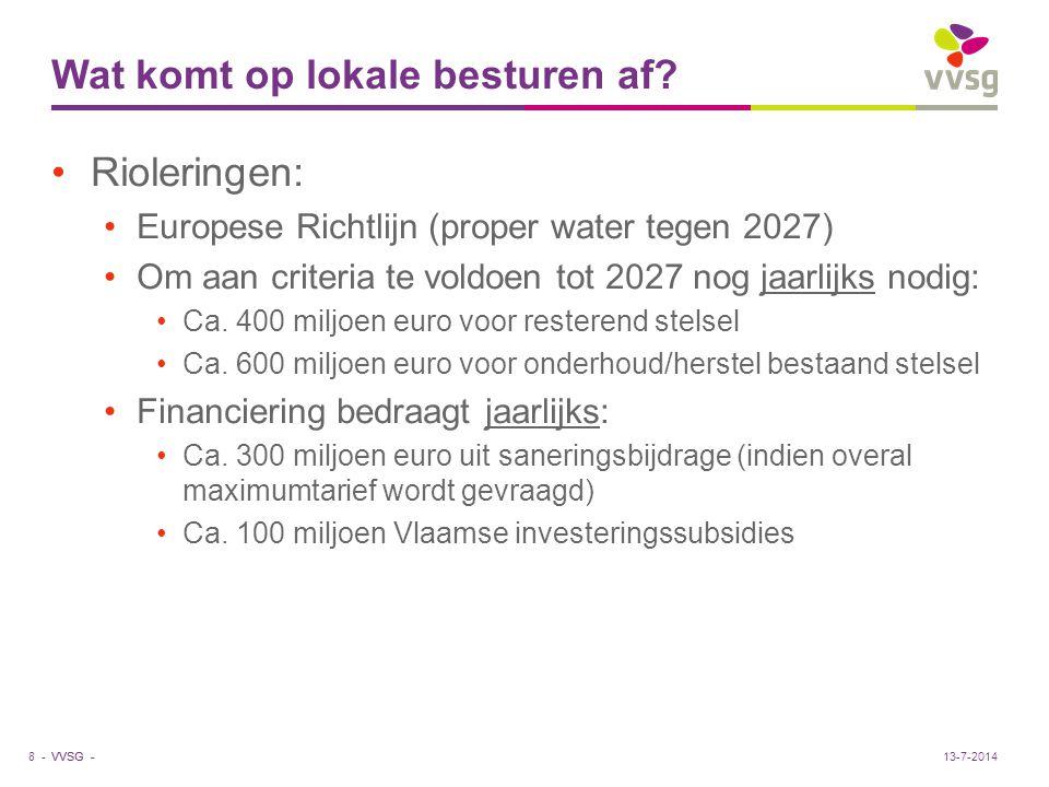 VVSG - Wat komt op lokale besturen af? Rioleringen: Europese Richtlijn (proper water tegen 2027) Om aan criteria te voldoen tot 2027 nog jaarlijks nod