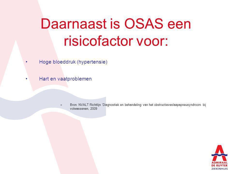 Daarnaast is OSAS een risicofactor voor: Hoge bloeddruk (hypertensie) Hart en vaatproblemen »Bron: NVALT Richtlijn 'Diagnostiek en behandeling van het